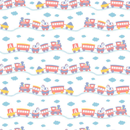 Seamless pattern with cute toy trains.