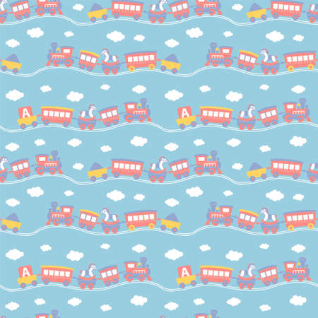 Seamless pattern with cute toy trains on blue background. The good choice for childrens accessories, fabric and other. Vector illustration