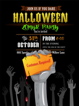 Halloween invitation card or poster of a zombies party. Stock fotó - 86916077