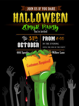 Halloween invitation card or poster of a zombies party.