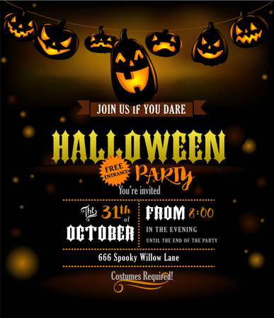 Halloween party invitation with scary pumpkins lanterns hanged out Illustration