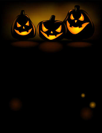 Halloween party invitation with scary pumpkins on a black background.