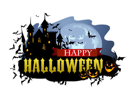 Halloween banner with Dracula castle and various silhouettes of flying bats