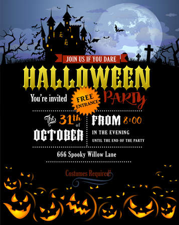 Halloween party invitation with Dracula castle, scary pumpkins, and various silhouettes of flying bats