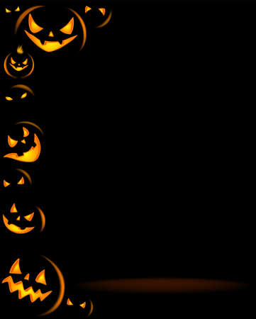 Halloween party background with scary pumpkins Imagens