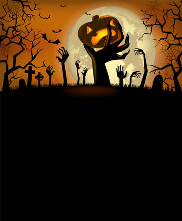Halloween invitation with zombies hands