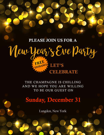 New Years party invitation with back golden light and text