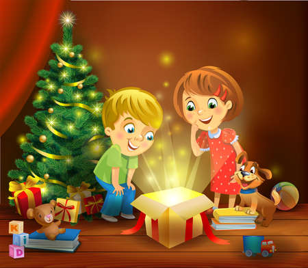 good friends: Christmas miracle - kids opening a magic gift beside a Christmas tree Illustration