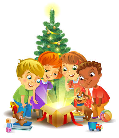 Christmas miracle - kids opening a magic gift beside a Christmas tree Illustration