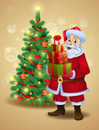 Santa Claus with gifts beside Christmas tree.