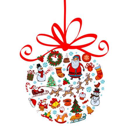 Christmas ball with ornaments Ilustração