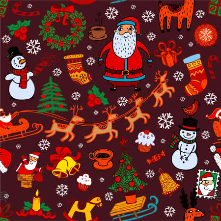 Christmas pattern with doodle symbols. Vectores