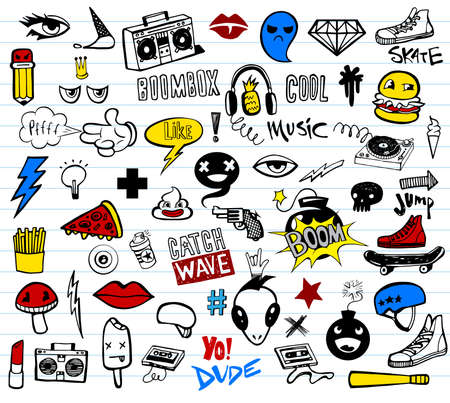 Vector set of teens pictures in doodle style.