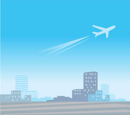 The plane which is taking off over the modern city Stock Illustratie