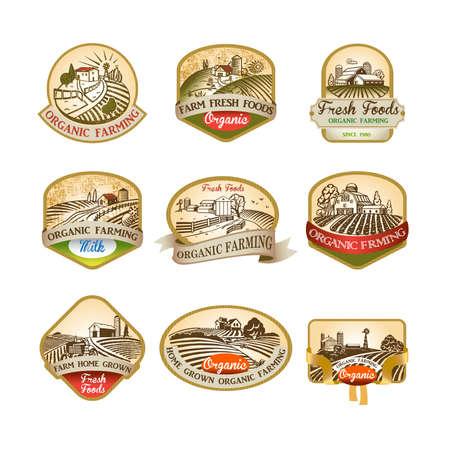 Cillection di etichette con l'immagine di una fattoria, campi e pascoli. La buona scelta per logo, emblema, etichetta, adesivo Archivio Fotografico - 99923237