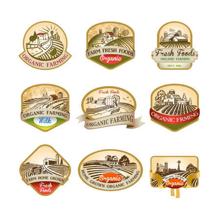 Cillection of labels with the image of a farm, fields and pastures. The good choice for Logo, emblem, lable, sticker Фото со стока - 99923237
