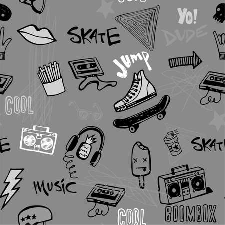 Seamless pattern with Hipsters teens doodles 矢量图像