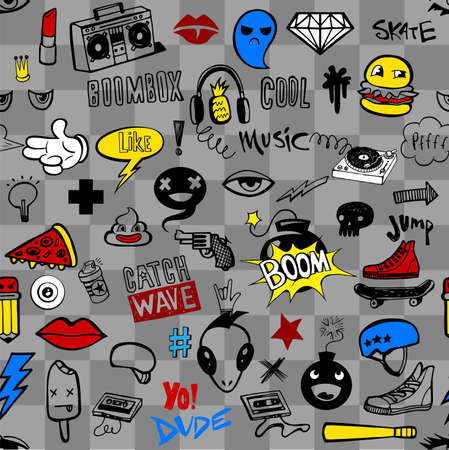 Seamless pattern with Hipsters teens doodles Vectores