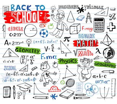 School doodles, vector set Illustration