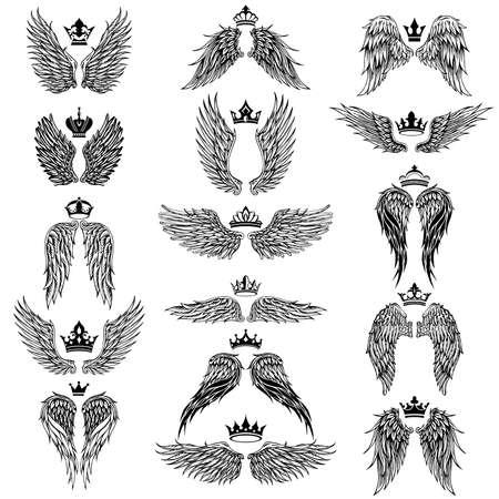Sammlung von Flügeln mit Kronen-Silhouette-Symbolen Vektorgrafik