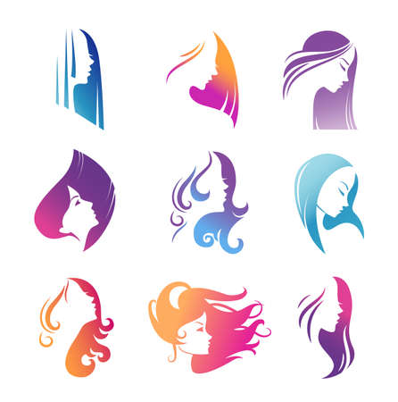 Girls portraits with long beautiful hair vector illustration set