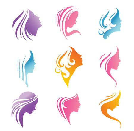 Silhouettes of a girl faces with long beautiful hair. Suitable for an emblem for Spa of salon or beauty shop
