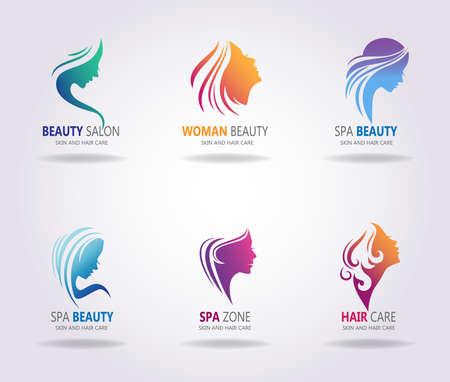 Silhouetten van een meisjesgezichten met mooi lang haar. Het is mogelijk om als embleem te gebruiken voor Spa, salon of schoonheidssalon