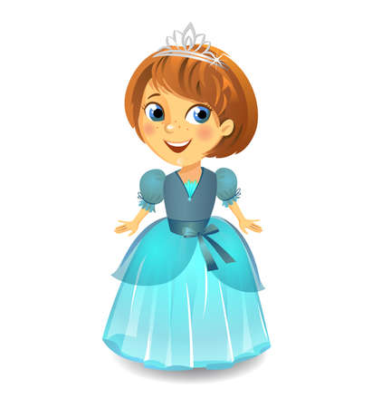 Illustration of Cute little princess in a blue dress on white background. Vector illustration.