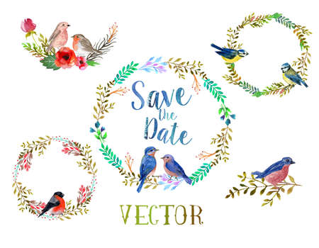 Vector watercolor wreathes with leaves, flowers and birds, possible to for wedding invitation.