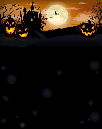 Halloween background with Dracula castle, scary pumpkins, and various silhouettes of flying bats