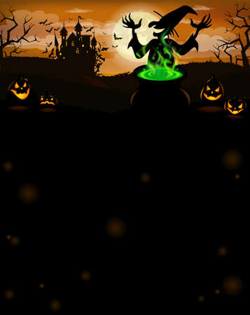 Halloween party invitation with castle, witch, scary pumpkins, and various silhouettes of flying bats