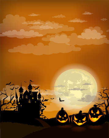 Halloween party invitation with Dracula castle Stock Illustratie