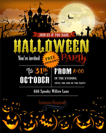 Halloween party invitation with Dracula castle Illustration