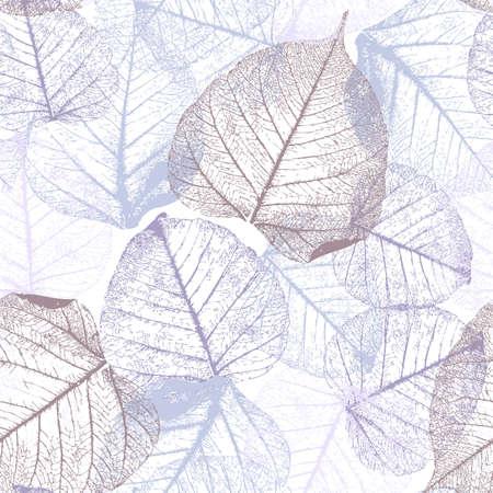 Festive winter Seamless pattern with hoarfrost leaves, vector illustration, Vektorgrafik