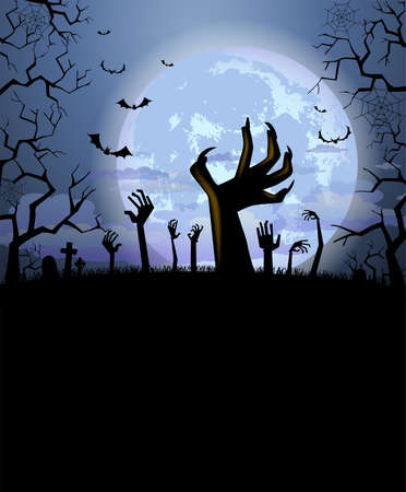 Halloween background for a poster or the zombies party invitation Иллюстрация