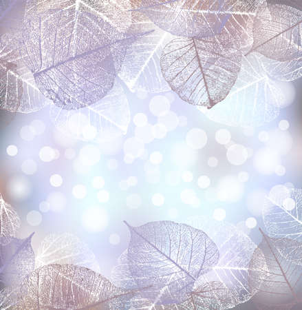 Festlicher Winterhintergrund von Bokeh-Lichtern mit Rahmen von Raureifblättern, Vektorillustration,