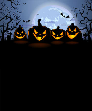 Halloween background with four laughing pumpkins and a full moon