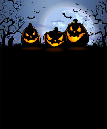 Halloween background with three laughing pumpkins and a full moon Illustration