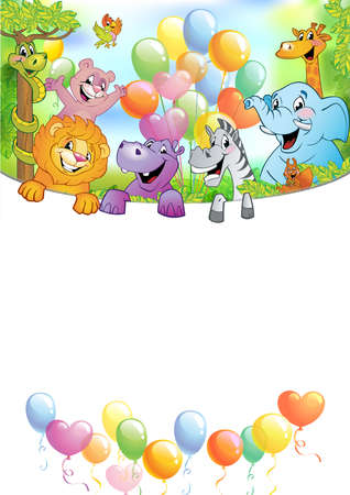 Cartoon animals in multi-colored balloons against blue sky, vector illustration. Festive background with free space for text