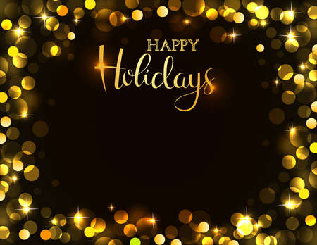 Holiday party invitation with golden bokeh light. Possible to create holiday cards or banner.