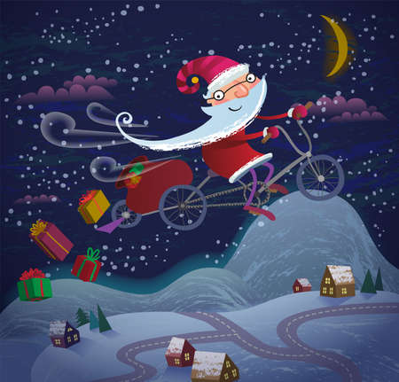 Santa Claus flying by magic bicycle over the city at night