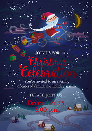 Holiday invitation or banner - Santa Claus flying by magic bicycle over the city at night