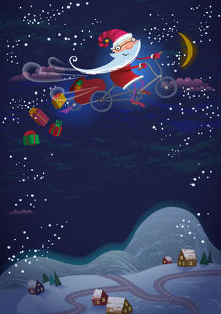 Christmas Holiday background - invitation or banner - Santa Claus flying by magic bicycle over the city at night Иллюстрация