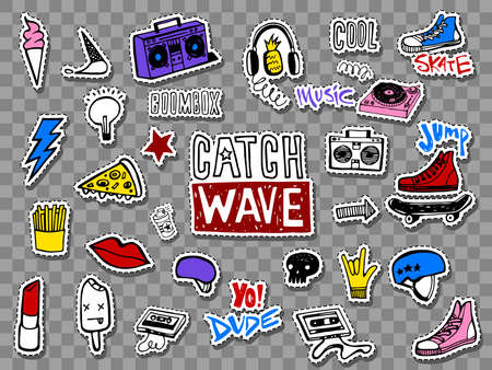 Hipsters teens stickers set