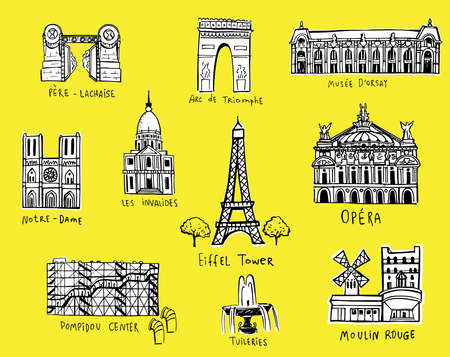Paris city sights illustrations in sketch style.