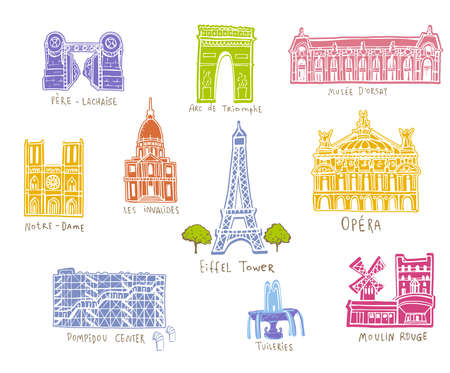 Paris city sights illustrations