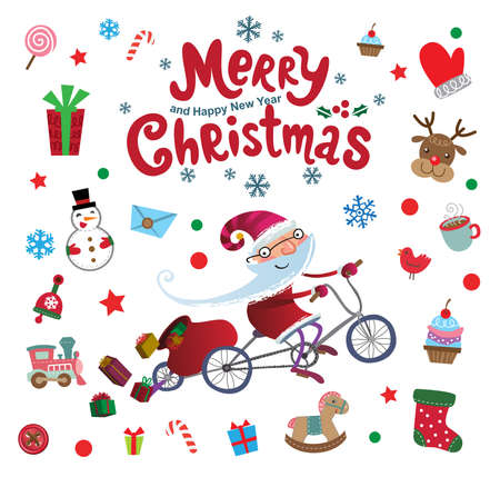 Vector Christmas doodle icons and Santa Claus flying by magic bicycle for decor or stickers