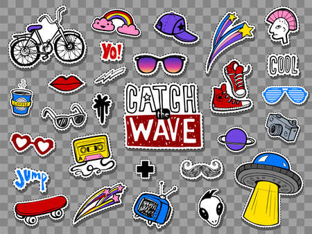 Hipsters cool stickers set