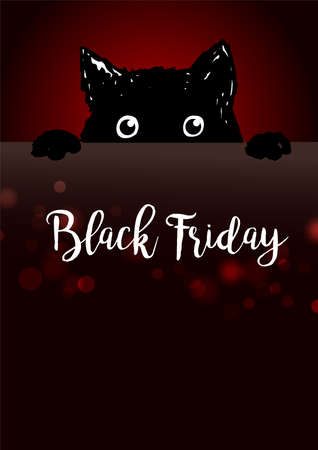 Black friday poster with angry black cat looks out from under a table, vector illustration Иллюстрация