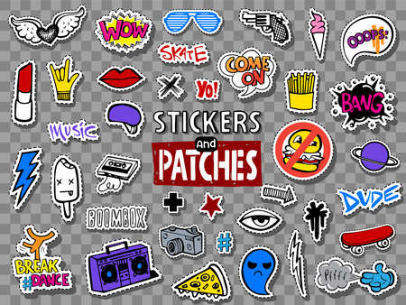 Hipsters teens stickers and patches